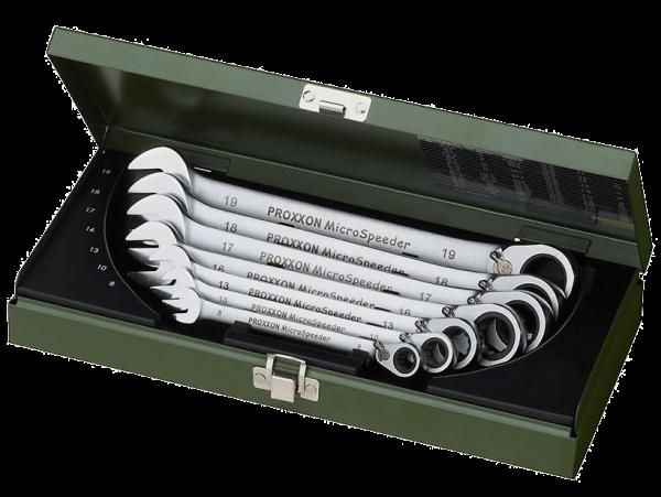 Proxxon MicroSpeeder mit Hebelumschaltung und 15° Abwinkelung ringseitig-7-tlg., 10 bis 19 mm