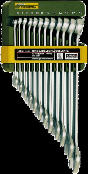 SlimLine-Ring-Maulschlüsselsatz, 12-teilig. Komplett mit Halter. Nach DIN 3113 und ISO 3318.