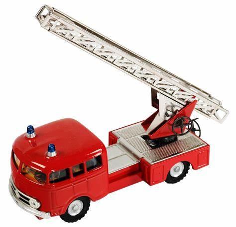 Blechspielzeug Mercedes MB 335 Feuerwehr Kranwagen